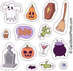 Halloween carnival symbols patchwork vector illustration with pumpkin and ghost spooky october autumn fear creepy traditional sign.