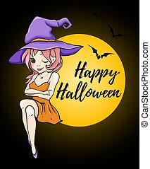 halloween, carte, à, mignon, jeune, sorcière