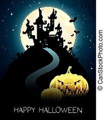 halloween, carte, célébration