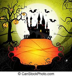 halloween, carte, citrouille