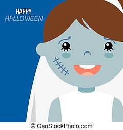 halloween, carte, heureux