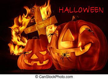 halloween, carte, invitation