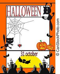 halloween, carte, vecteur