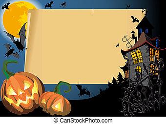 halloween, carte, vide