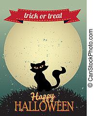 halloween, carte voeux, heureux