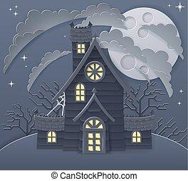 halloween, cartone animato, frequentato, scena, casa
