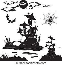 halloween, cartone animato, paesaggio