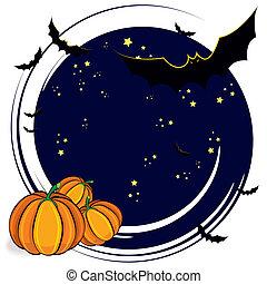 Halloween cartoon background with bats and pumpkins, vector...