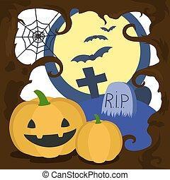 Halloween cartoon card vector illustration