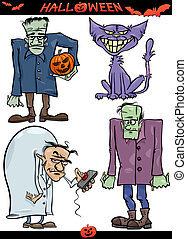 Halloween Cartoon Creepy Themes Set - Cartoon Illustration...