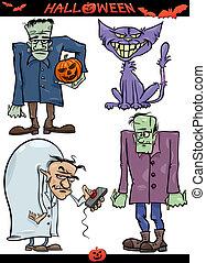 Halloween Cartoon Creepy Themes Set - Cartoon Illustration...