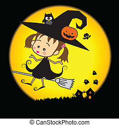 Halloween cartoon cute little baby witch
