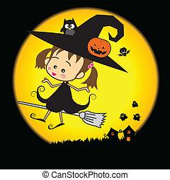 Halloween cartoon cute little baby witch
