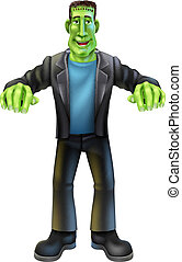 A Halloween cartoon Frankenstein monster character standing with his arms out in classic horror movie pose