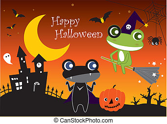 Halloween Cartoon Frogs - Happy Halloween and Cartoon Frogs