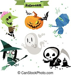 Halloween cartoon icons