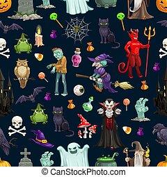 Halloween cartoon monsters seamless pattern