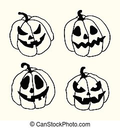 Halloween cartoon outline spooky face pumpkins set