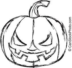 Halloween cartoon pumpkin. Vector illustration.