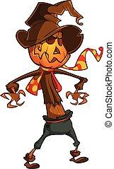 Halloween cartoon scarecrow with pumpkin head. Vector...