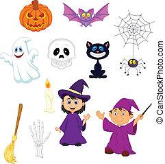 Halloween cartoon set - Vector illustration of Halloween...