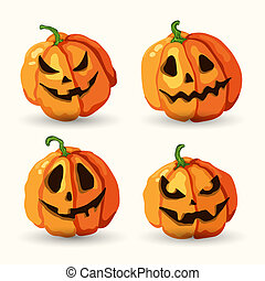 Halloween cartoon smiling spooky face pumpkins set