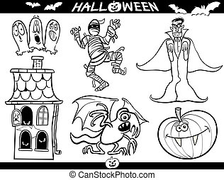 Cartoon Illustration of Halloween Themes, Vampire or Count Dracula, Mummy, Haunted House, Basilisk or Monster, Pumpkin and Ghosts Set for Coloring Book or Page