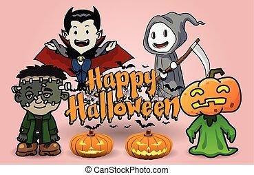 Halloween cartoon - Vector Illustration