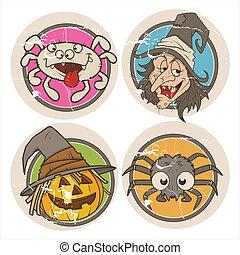 Halloween Cartoons Vintage Stickers