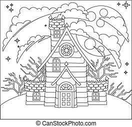 halloween, casa, frequentato, scena, cartone animato