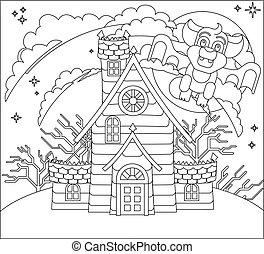 halloween, casa, scena, frequentato, pipistrello, cartone animato