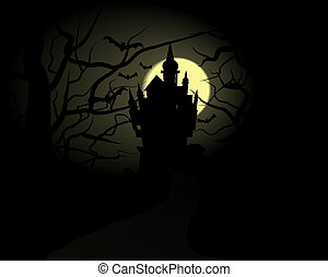 Halloween Castle - Abstract vector illustration of a dark...