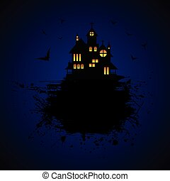 Halloween castle at night