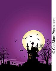 Illustration of a spooky haunted castle on hill inside halloween landscape