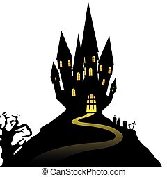 Halloween castle on hill isolated on white background, vector