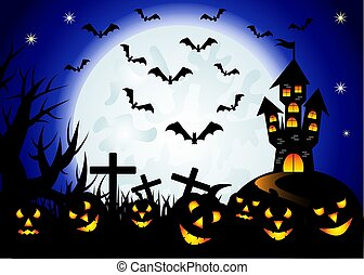 Halloween. Castle on the dais, full moon, night landscape. Silhouettes of crosses, tree branches, a flock of bats
