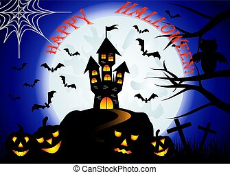 Halloween. Castle on the dais, full moon, night landscape. Silhouettes of owls, bats, crosses, tree branches