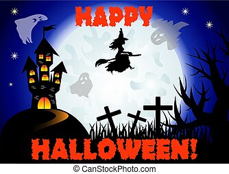 Halloween. Castle on the dais, full moon, night landscape. Silhouettes of witches, crosses, tree branches, ghosts