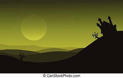 Halloween castle silhouette on green backgrounds