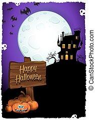 Halloween Castle With Cartel Vertical