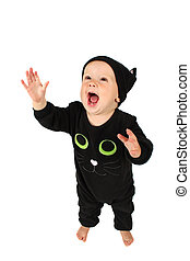 Halloween cat - Baby girl dressed in a halloween cat costume...