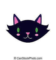 halloween cat black head flat style icon