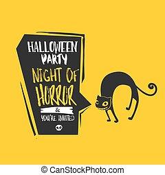 Halloween cat bubble card