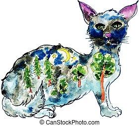 Halloween Cat - Bizarre cat silhouette illustration with...
