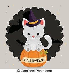 halloween, cat., fond, blanc, ou, carte