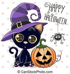 Halloween Cat - Halloween illustration of Cartoon cat with...