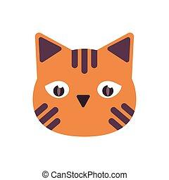 halloween cat head flat style icon