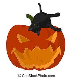 Halloween Cat Illustration - Black cat on a pumpkin on a...