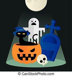Halloween cat in pumpkin ghost and grave vector design