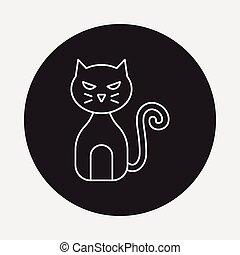 halloween cat line icon